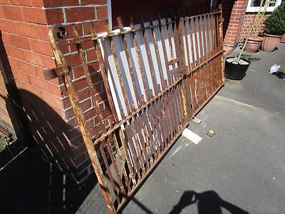 Antique Original Victorian Wide Wrought Iron Drive Gates (Delivery Available)