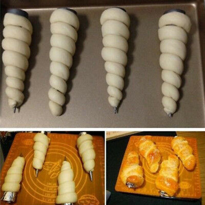 3 X Cone Shape Stainless Steel Croissants Roll Bread Spiral Baking Tool Tempting