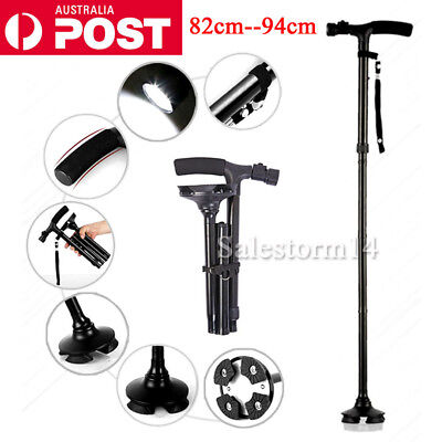 Walking Stick Cane Folding With Light LED Strap Handle Black Metal Adjustable AU