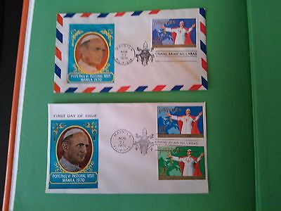 Philippines 1970 Pope Paul VI Visit the Philippines FDC - 2 covers