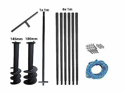 Hand Auger System Water well Post hole Earth Borer 2 drill 145mm +180mm 7 meters