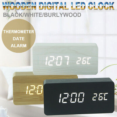 LED Digital Clock Display Wooden Desk Table Temperature Alarm Modern Home Decor
