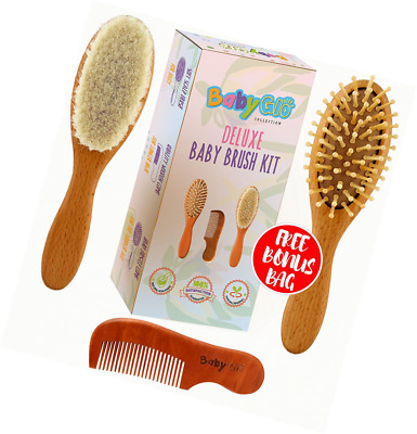 BabyGlo 4-Piece Natural Soft Goat Bristles Wooden Baby Hair Brush and Comb Set f