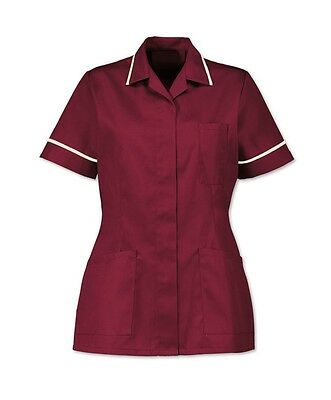 Nurses Healthcare Tunic, Dental Nhs. Maroon/Burgundy With White Trim. Ins32Mr
