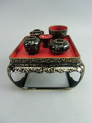 ID56 Japanese Hina Doll Wood Lacquer Tray Table Bowls Girl's Festival Vtg