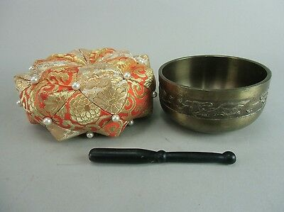 B275 Japanese Buddhist Altar Fitting Rin Bell Singing Bowl Pillow Stick Vtg Orin