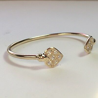 Baby Girls Cubic Zirconia Set Heart Bangle 9Ct Gold On 925 Sterling Silver,child