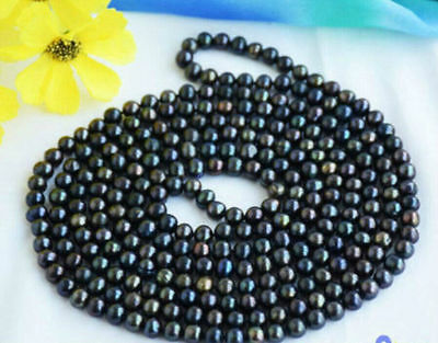 """New 7-8mm long multicolor black green natural freshwater pearl necklace 50"""""""