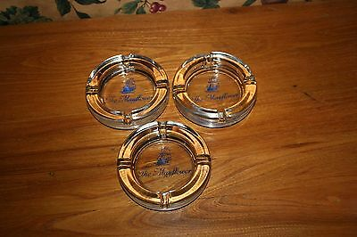 Vintage Mayflower Hotel Dc Glass Ashtray-Lot Of 3