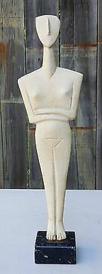 """Early CYCLADIC 16"""" Greek SCULPTURE Vintage Cycladic Art Museum of Athens Replica"""