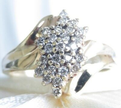 Beautiful Genuine 0.40ct Diamond Dress Ring 10K Solid Yellow Gold