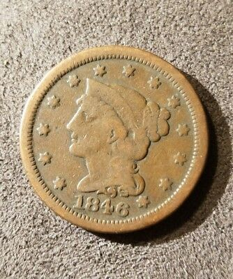 1846 Braided Hair, Large Cent, Small Date - 171 Years Old
