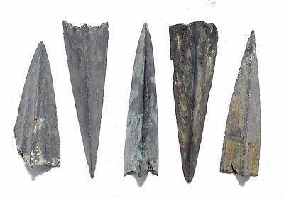 Lot Of 5 Ancient Bronze Arrow Heads - Ancient Historical Artifacts Superb - K181