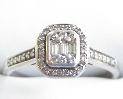 Sparkling Genuine 0.50ct Diamond Dress Ring 9K Solid White Gold