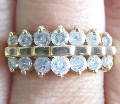 RRP$2490 Genuine 1.00ct Diamond Dress Ring 10K Solid Yellow Gold