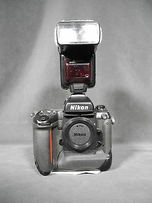 Vintage NASA Owned Space Shuttle Era Nikon F5 35mm Camera w/ Velcro, Nikon Flash