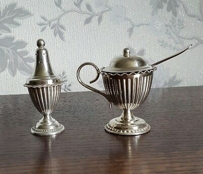 A Vintage Silver Plated Pepperette & Matching Mustard Pot