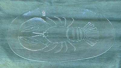 """Pilgrim Glass Clear Glass Lobster Serving Tray Platter Plate Oval 19"""" x 10"""""""
