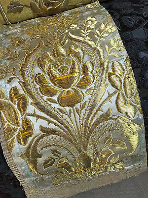 18th Century Silk Brocade Gold Metaalic Stumpwork  Roses
