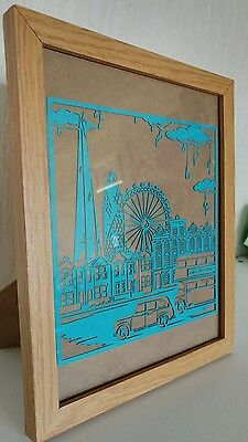 London city scape paper cut with 10x8 frame