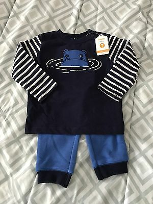 Gymboree Blooms & Boats 2-Piece Hippo Top & Pants Outfit Baby Boy 12-18 M NEW