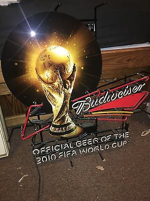 Budweiser FIFA World Cup Soccer COPA Neon Beer Sign Light Trophy FOR PARTS