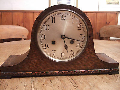 "Antique (1920) Oak Cased "" Napoleon"" Pendulum Two Train Mantle Clock"