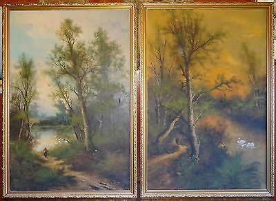 2 x Old Oil Paintings Landscape Lake Swans Walking Figure Scenes in Gold Frames