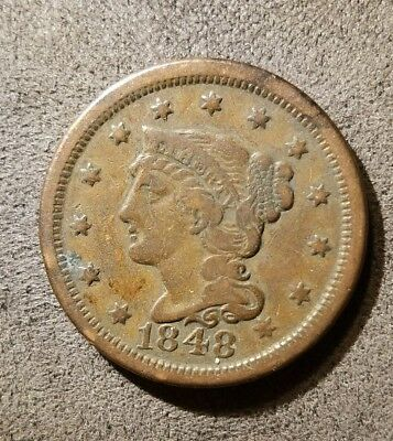 1848 Large Cent Early American Copper Braided Hair U.S. Collectible Coin *