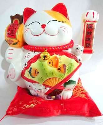 New 25cm Lucky Cat Fortune Cat Business Feng Shui Decor Chinese Wealth Ceramic