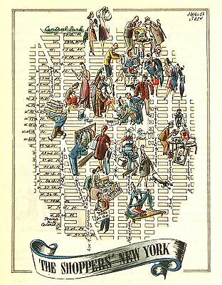 The Shopper's New York City NYC Antique Vintage Pictorial Map