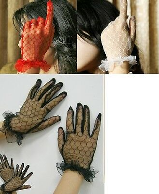 Ladies Wrist Length Gloves All Lace Goth Fancy Dress Bridal.