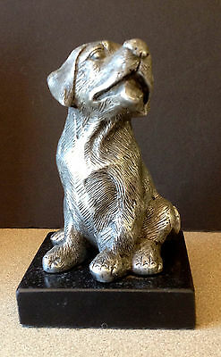 Silver Metal Dog Statue on Marble Base