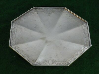 Vintage Silverplate Etched and Engraved Footed Plate by Wilcox Co.