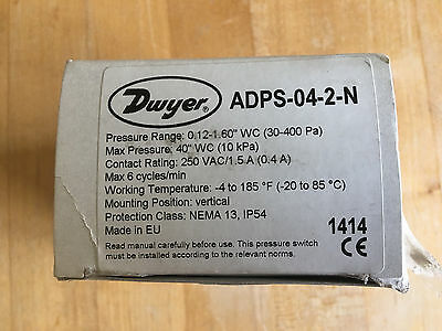 New Dwyer Series ADPS-04-2-N Adjustable Differential Pressure Switch