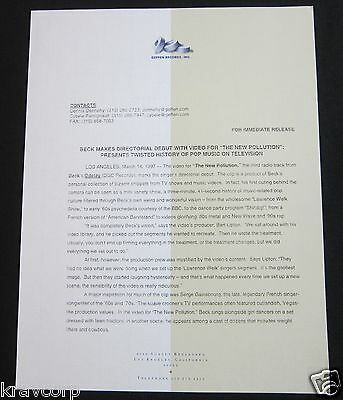 Beck 'New Pollution Video' 1997 Press Release