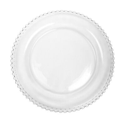 Luxury Bella Perle Beaded Edge Clear Glass Dinner Plate Exclusive To Dibor