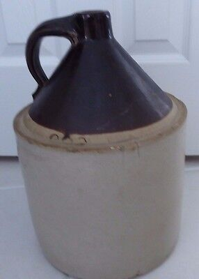 "Vintage Stoneware Large 14 1/2"" Whiskey Jug Marked 2"