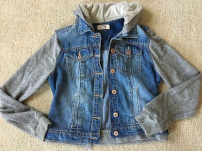 Girls Juniors Size S Lei Denim Jacket Coat With Sweatshirt Sleeves Hooded