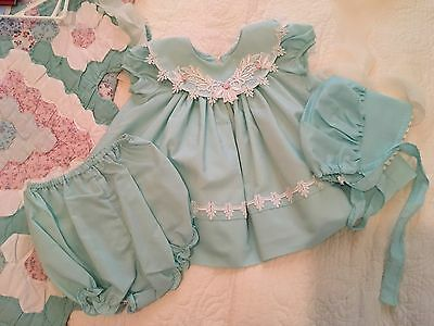 Vintage baby girl dress green CI Castro REDUCED