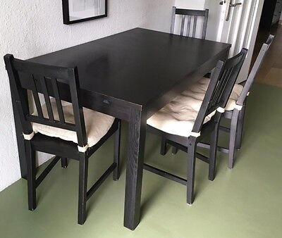ikea tisch bjursta schwarz ausziehbar super zustand eur. Black Bedroom Furniture Sets. Home Design Ideas