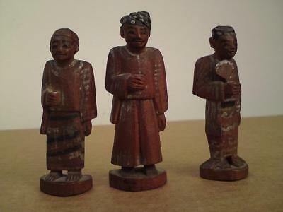 Antique 19th century Burmese 3 miniature wood carving carved wooden figure