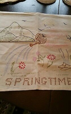 VINTAGE HAND EMBROIDERED PILLOW CASE 18 by 16