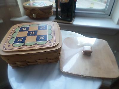 Longaberger  Game Duo Tic Tac Toe Basket Combo Two Lids Extra Pieces