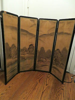Antique Japanese Screen Four Panel Double Sided Landscape Dragon AS IS