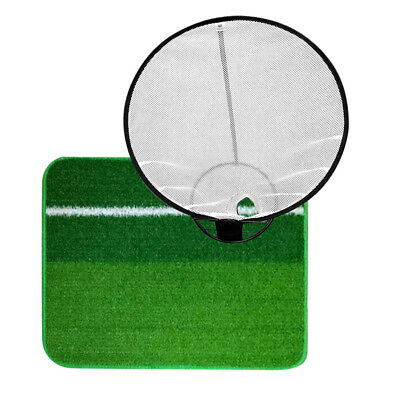 Portable Collapsible Golf Training Chipping Net & Hitting Mat Indoor Outdoor
