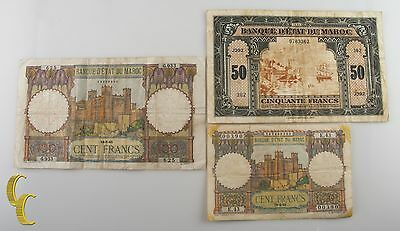 1941-1951 Morocco 3 pc Notes 50 & 100 Francs (VG+ to VF) Very Good+ to Very Fine