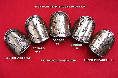 Walking Stick Badges Penny Set X 5 British Kings & Queens Free Uk P&p
