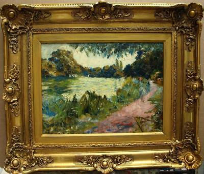 Early 1900s French Impressionist Elegant Figures Riverside Antique Oil Painting