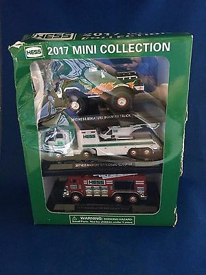 Hess 2017 Mini Collection Set Of 3 Trucks Monster Helicopter Fire Damaged Box